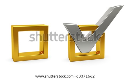 Silver check mark and golden check box on white background. High resolution 3D image - stock photo