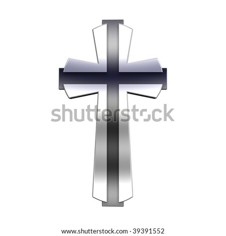Silver Christian cross isolated on white. Computer generated 3D photo rendering. - stock photo