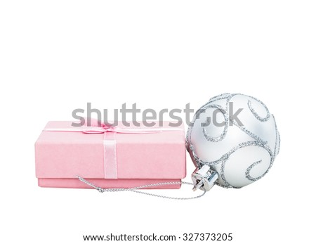 Silver Christmas and New Year baubles balls, pink gift and ribbon decoration isolated on white background - stock photo