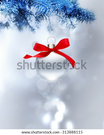 silver christmas background with ball