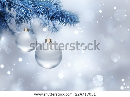 silver christmas background with balls - stock photo