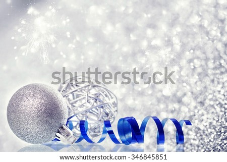 Silver Christmas background with Christmas balls and decorations - stock photo