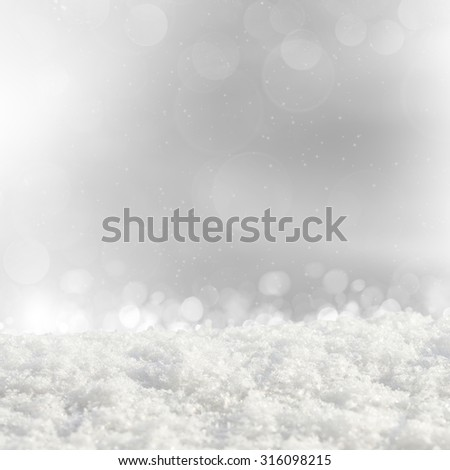 Silver Christmas background with various bokeh and snow drifts - stock photo