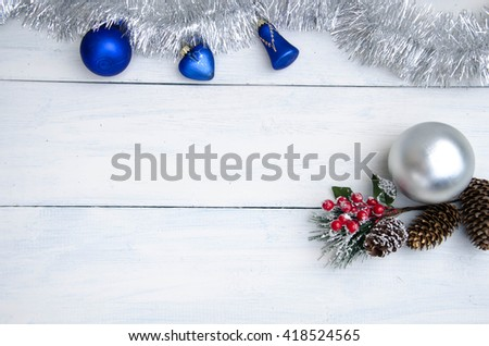 Silver christmas ball - stock photo