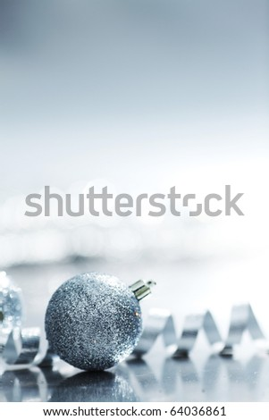 silver christmas ball - stock photo