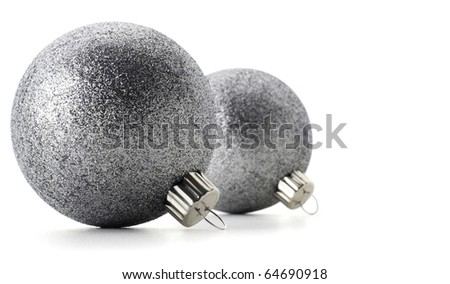 Silver Christmas Balls - stock photo