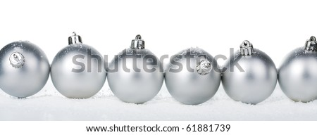silver christmas balls isolated