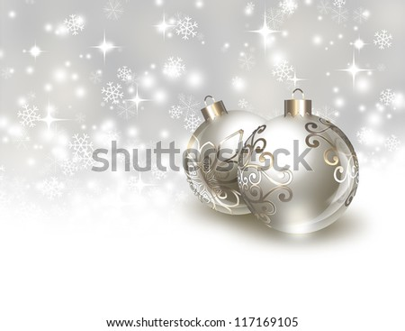 silver Christmas balls on the background of falling snow - stock photo