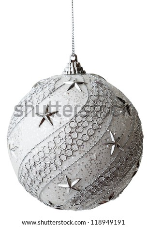 Silver Christmas bauble isolated on the white background - stock photo