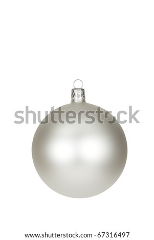 Silver Christmas bauble isolated with clipping path. - stock photo