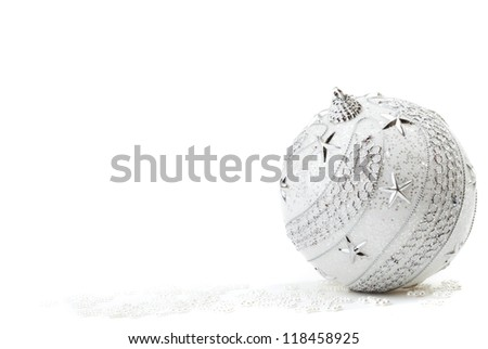 Silver Christmas bauble on the white background - stock photo