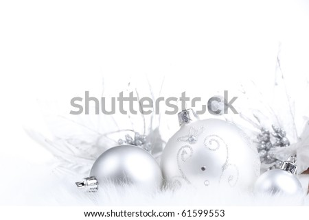 Silver Christmas bauble on white background - stock photo