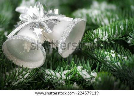 Silver Christmas bells on snow covered fresh fir twigs, studio shot with shallow focus - stock photo