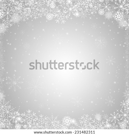 Silver christmas card with abstract snow flakes - stock photo