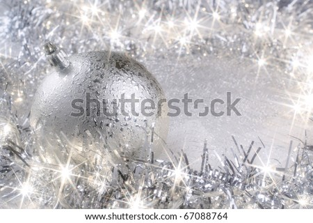 Silver Christmas card with sparkling Christmas lights - stock photo