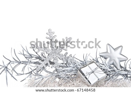Silver Christmas decoration - stock photo