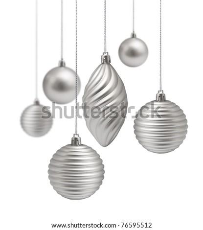 Silver Christmas decoration set hanging on white background isolated - stock photo