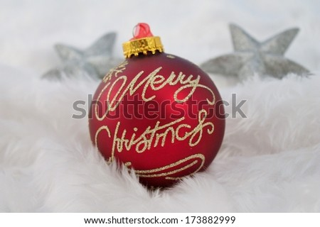 silver christmas decoration with fake snow made of white fur - stock photo