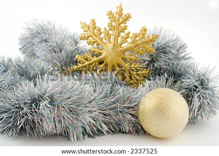 silver christmas decoration with gold snowflake