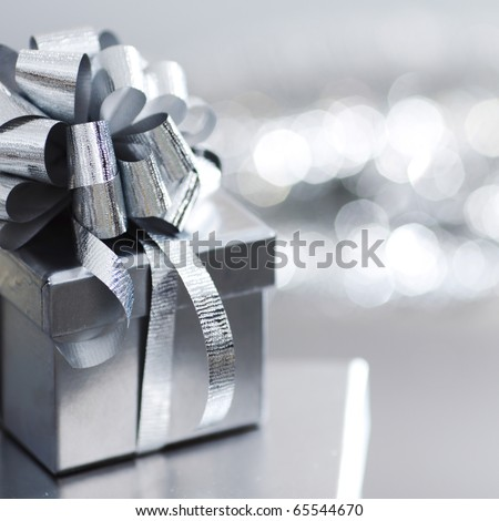 silver christmas gift - stock photo
