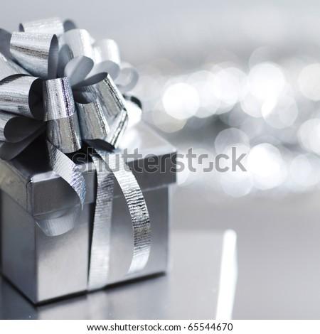silver christmas gift - stock photo
