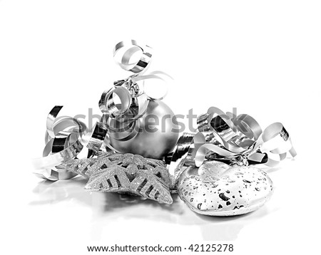 Silver Christmas ornaments over white background with reflection - stock photo