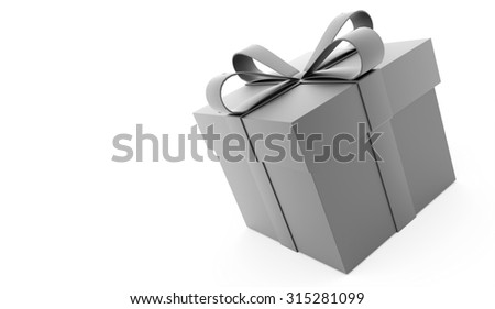 Silver christmas present with ribbon rendered