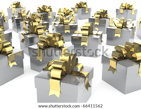Silver Christmas presents with gold bows sitting on a white floor.