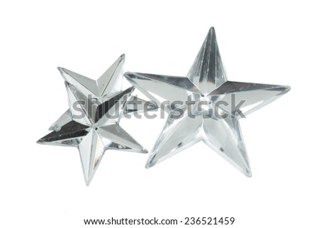 silver Christmas stars. isolated on white  - stock photo