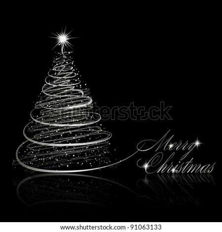 Silver Christmas tree on black background. Raster copy of vector illustration