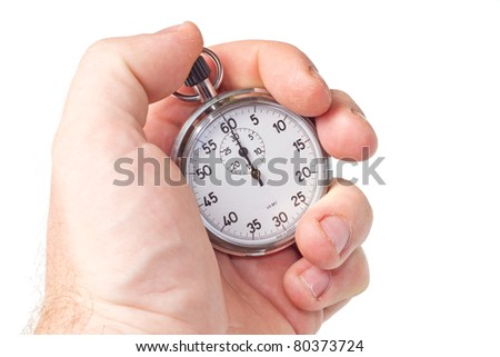 silver chronometer isolated on white background - stock photo