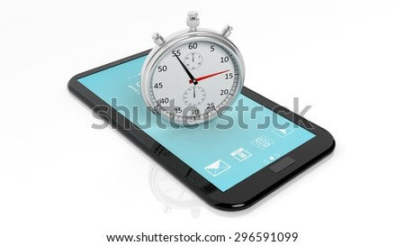 Silver chronometer on tablet screen, isolated on white - stock photo