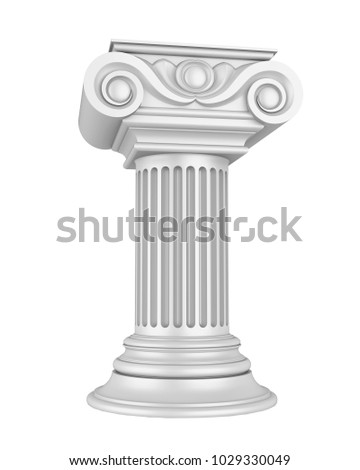 Silver Classic Columns Isolated. 3D rendering