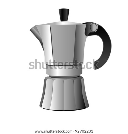 silver classic espresso and metal cup isolated on white, retro objects - stock photo