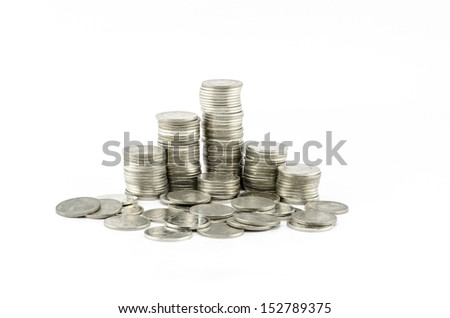silver coin isolated on white background - stock photo