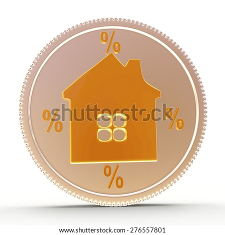 Silver coin with the image of the house and percent signs isolated on a white background - stock photo