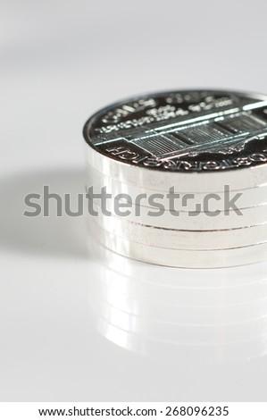 Silver coins. - stock photo