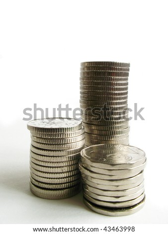 Silver coins - stock photo
