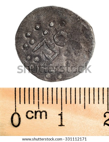 Silver coins of the Golden Horde. Number 1_1. Macro. Isolated on white