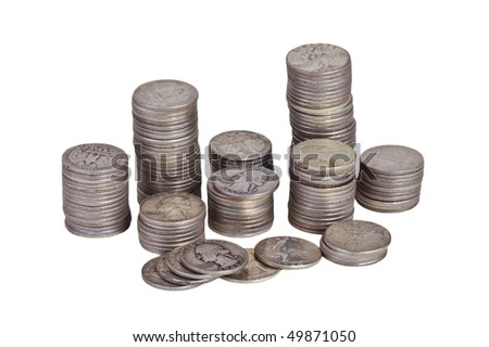 Silver coins on white background
