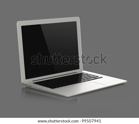silver color stylish laptop with gray background