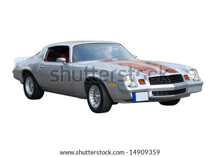Silver Colored American Sports Car from Seventies
