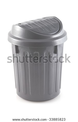 Silver colored garbage can on a white background.