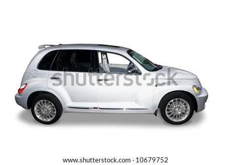 Silver colored  suv car isolated on a white background. Realistic shadow included. Clipping path for car is included as well. - stock photo