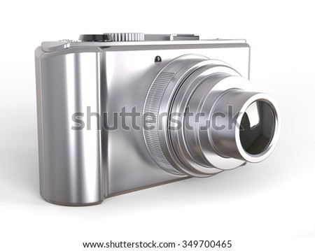 Silver compact digital photo camera - stock photo