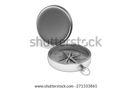 Silver compass on white isolated background. 3d - stock photo