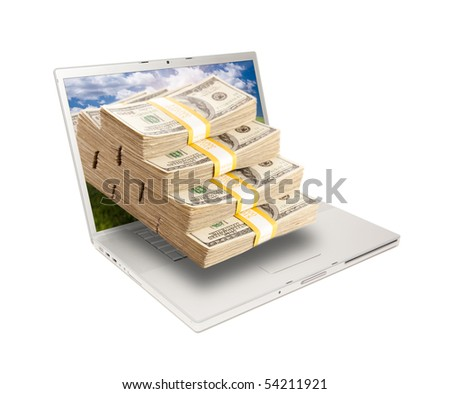 Silver Computer Laptop Isolated on White with Stacks of Hundred Dollar Bills Extruding the Screen.