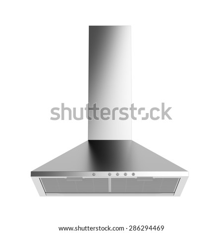 Silver cooker hood isolated on white background - stock photo