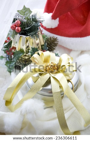 silver cookies box with golden ribbon for christmas present