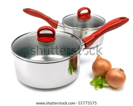 Silver cooking pots isolated against a white background - stock photo